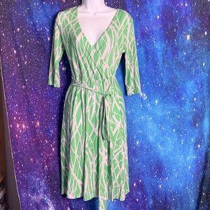 Patty Boutik- Green & White 3/4 Sleeve Dress Small